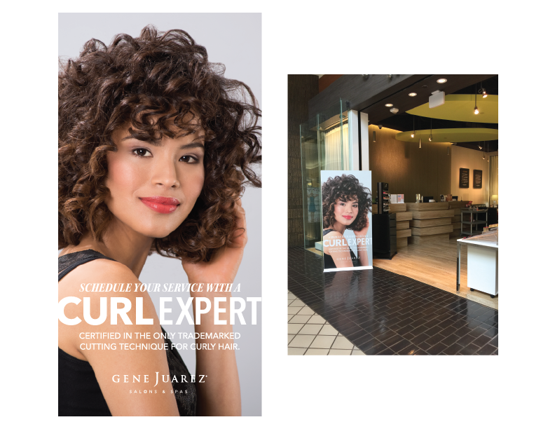 """Banners in the entryways of the salon locations announced, """"Find Your Curl Expert at Gene Juarez."""""""