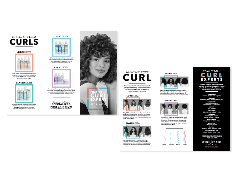 A brochure helps educate clients on the different curl patterns and helps them understand which products can address their unique needs.