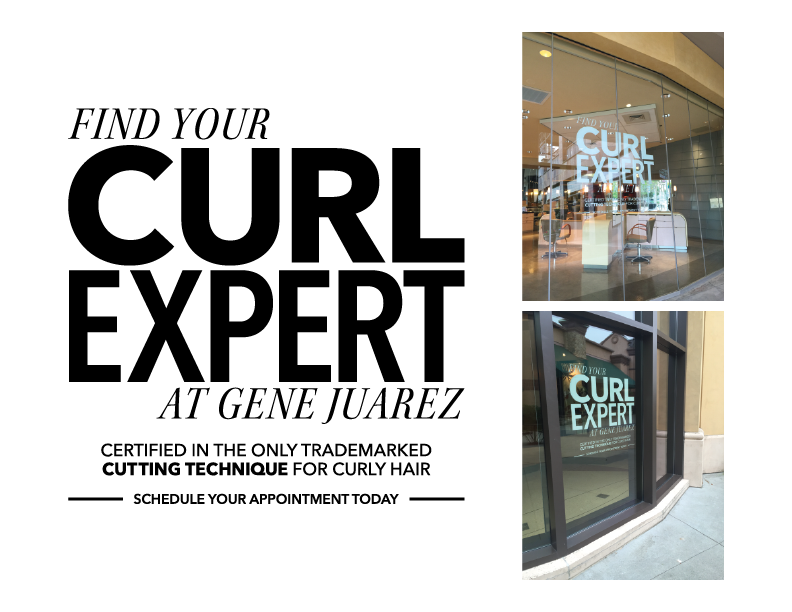 Window signage announced the curly hair expertise to passersby.