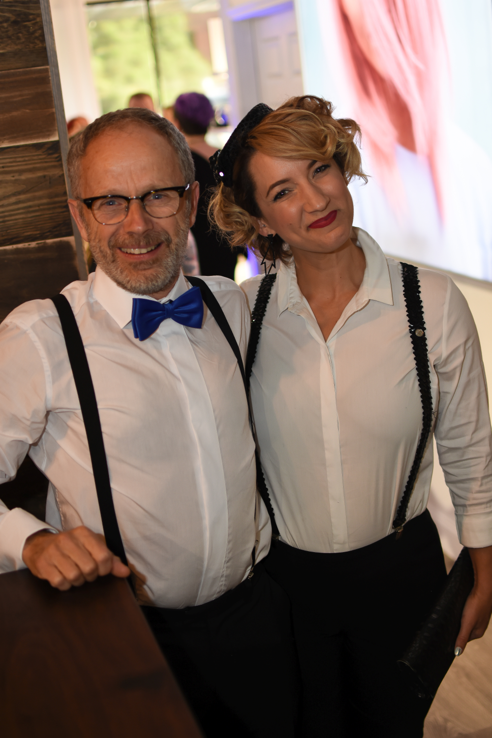 George Kuene, CEO, and Rachael Hoffman, vice president of marketing and brand development of Keune at the grand opening for the 1922 Men's Grooming Salon.