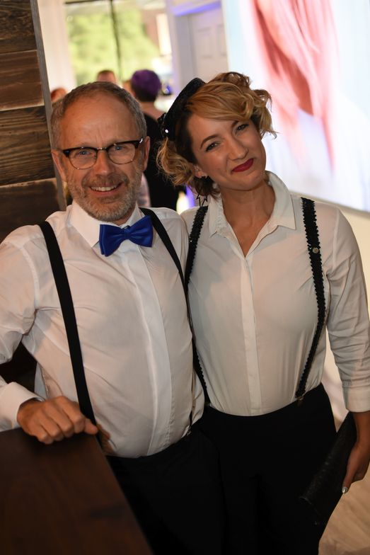 <p>George Kuene, CEO, and Rachael Hoffman, vice president of marketing and brand development of Keune at the grand opening for the 1922 Men&#39;s Grooming Salon.</p>