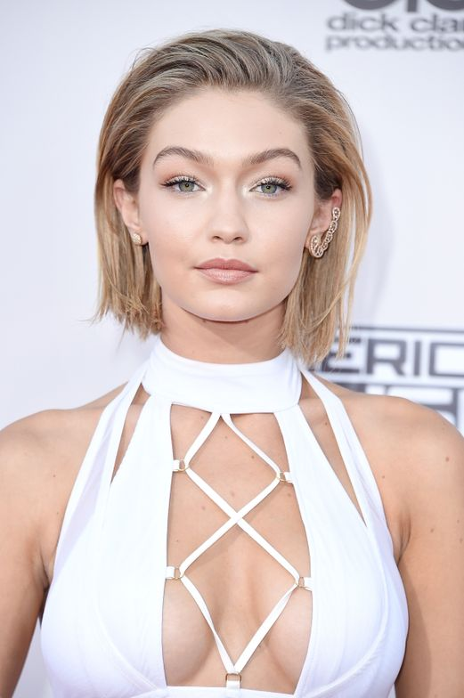 """Gigi Hadid had everyone fooled at the 2015 American Music Awards when Bryce Scarlett for Matrix gave her a """"slicked-back bob."""""""