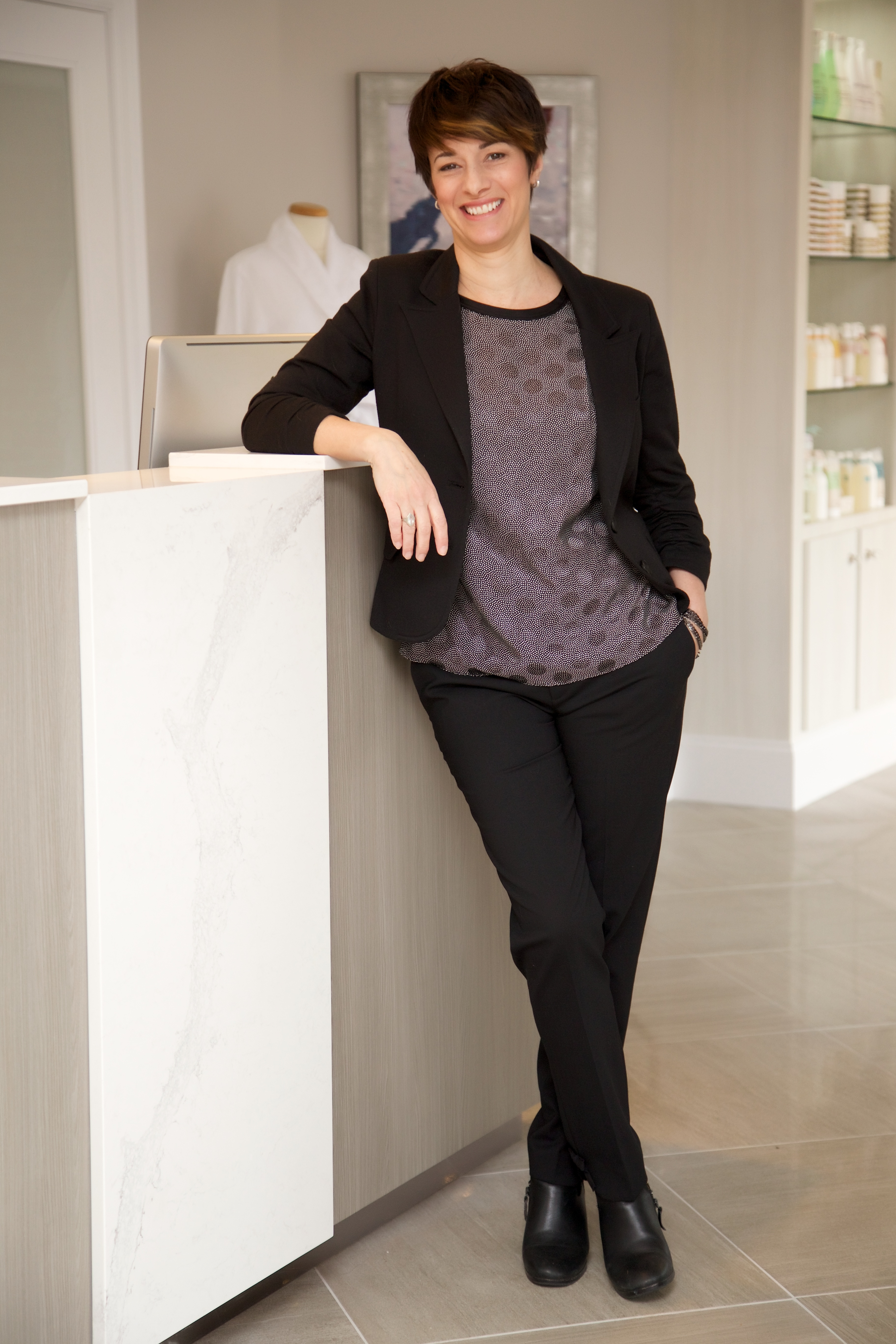 Ginny Eramo, the owner of Interlocks Salon+Spa in Newburyport, MA.