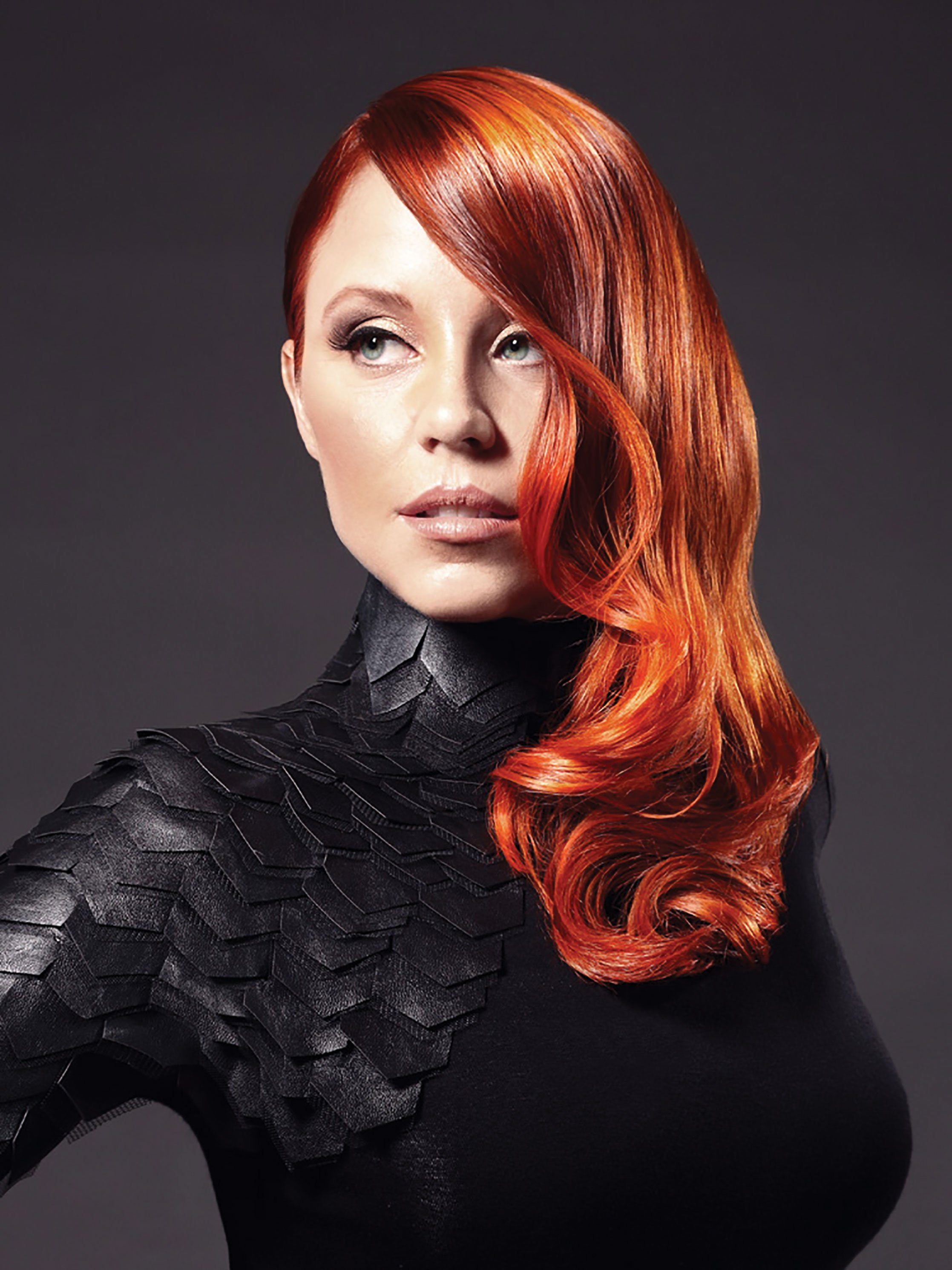 Goldwell's crimson tide combines copper color with flashes of amber and violet.