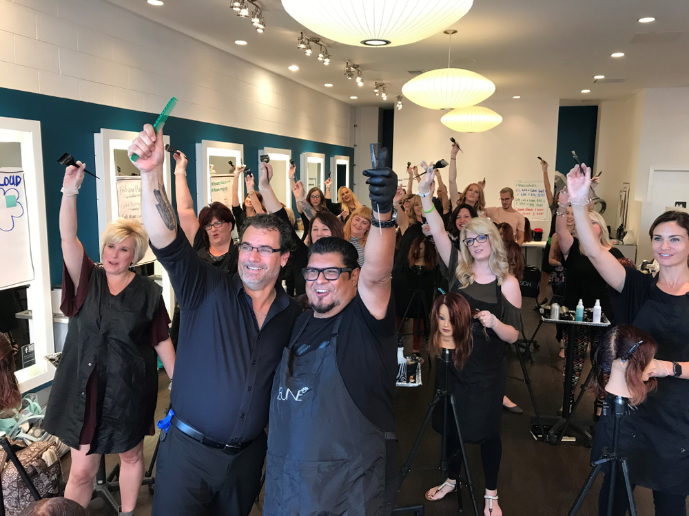 Keune North America Creative Ambassador George Alderete and Keune Academy Trainer Gareth Palmer Pose for a group shot with the stylists in attendance