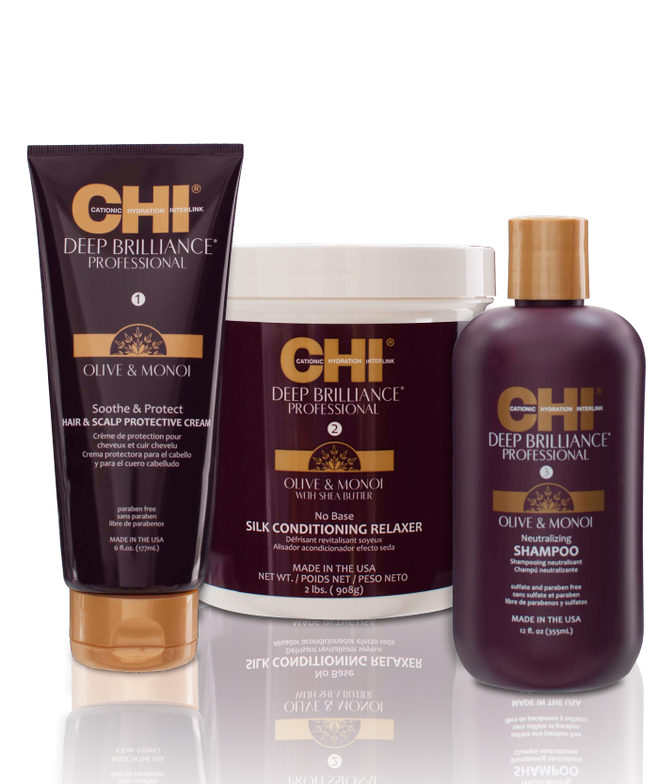 <strong>CHI Deep Brilliance Olive &amp; Monoi Conditioning Relaxer System</strong>