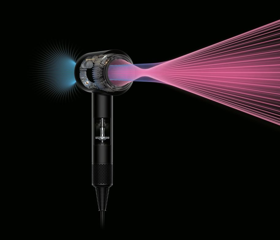 Dyson's Air Multiplier technology creates a high-pressure, high-velocity airstream that exits the amplifier, tripling airflow.