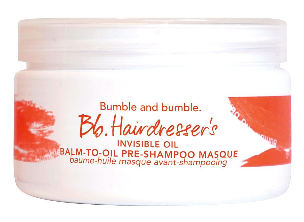 Bumble and Bumble Pre-Shampoo Masque: Rather than applying post-shampoo, this mask is applied before hair is even wet. This concentrated gritty balm melts into oil when emulsified in hands. Because dry hair absorbs more moisture, the masque is applied 20 minutes before washing to moisturize parched hair, and followed by a regular rinse with shampoo and conditioner.