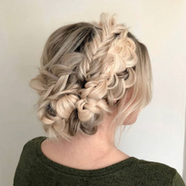 """""""My favorite way to do crown braids is to use hair extensions and a million individual braids,""""..."""