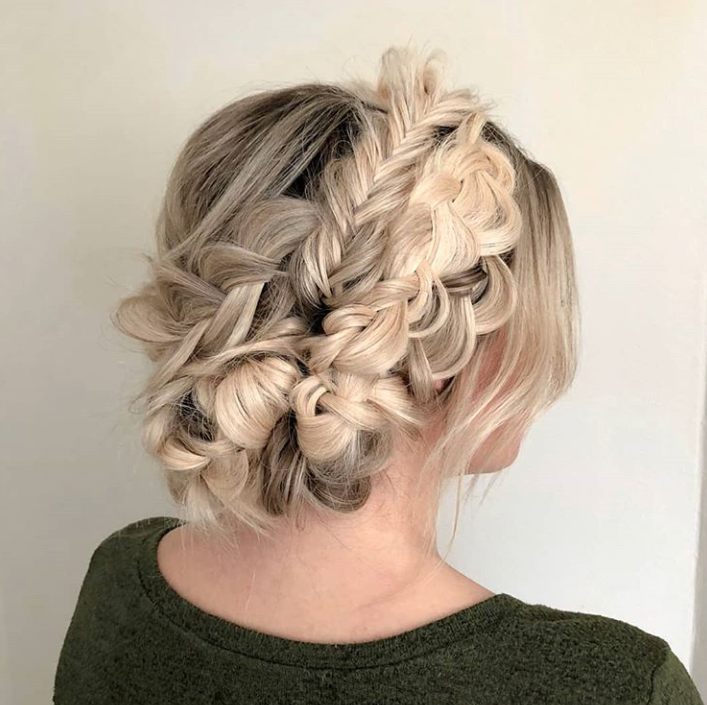 """My favorite way to do crown braids is to use hair extensions and a million individual braids,"" says Heidi Marie Garrett Villa, special occasion stylist and Artist Connective member."