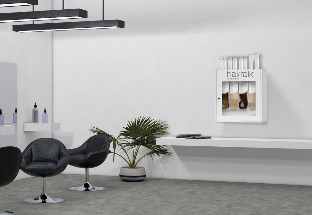 Hairtalk's full-length floor stand and countertop/wall mount in the salon.