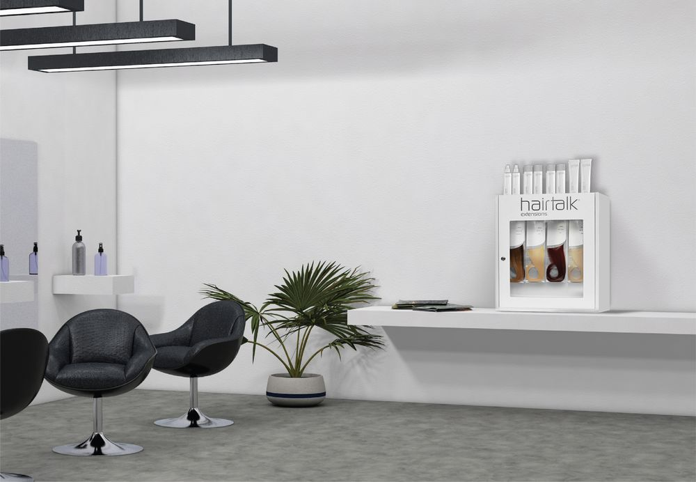 <strong>Hairtalk's Countertop/Wall Mount Extension Stocking Cabinet in the salon. </strong>