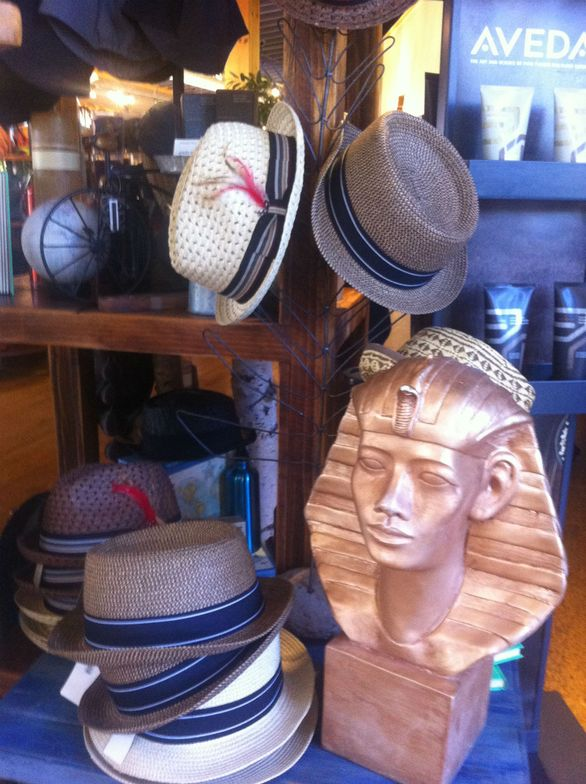 King Tut and an offering of summer hats at Habitude.