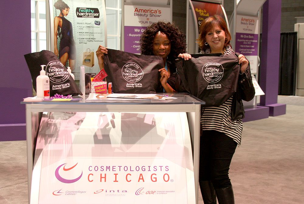 Healthy Hairdresser Day at America's Beauty Show. These ladies at the Cosmetologists Chicago booth were handing out pedometers. Those who came back with 5,000+ steps logged, received swag bags!