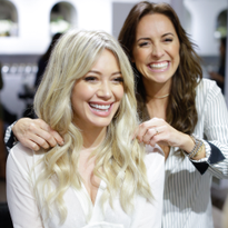 Riawna Capri gave Hilary Duff an icy blonde color with babylights using Joico's Blonde Life line.