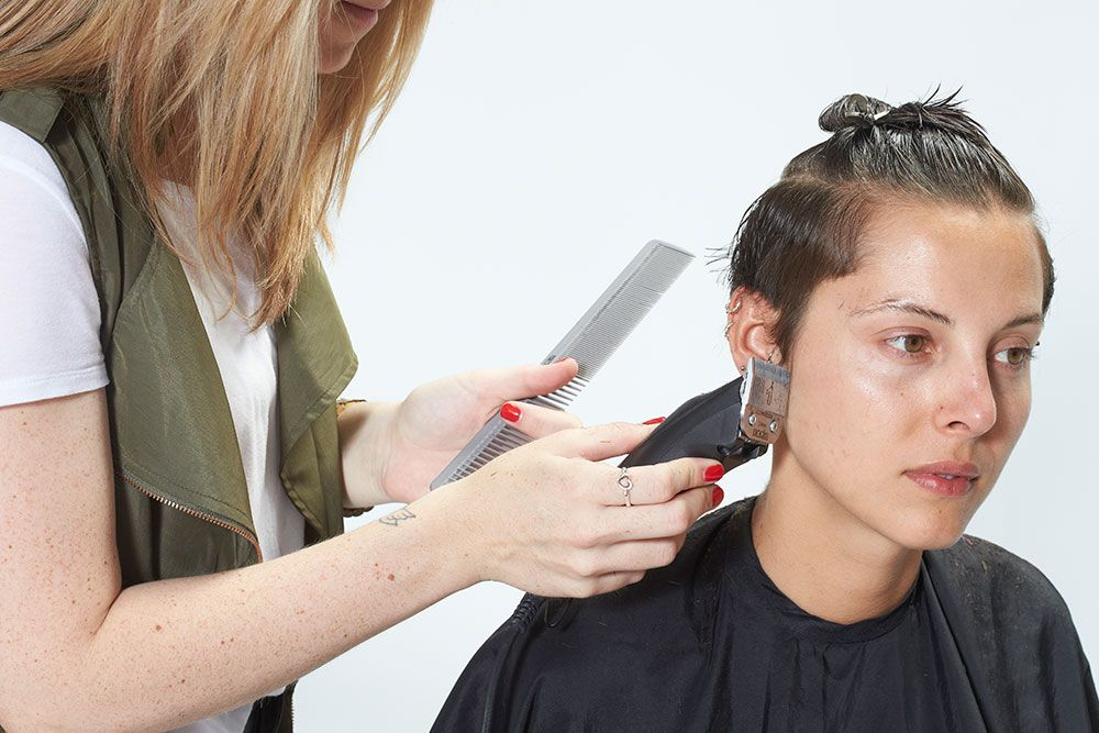 3. Direct hair down and clipper to define the line.