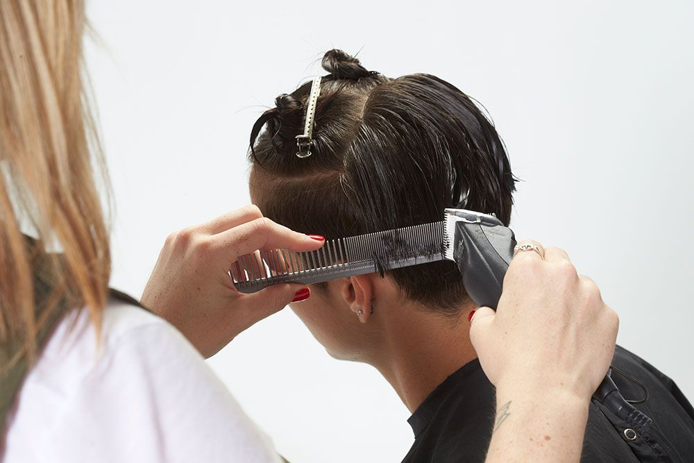 5. Blend into the side continuing to clipper over comb with slight elevation.