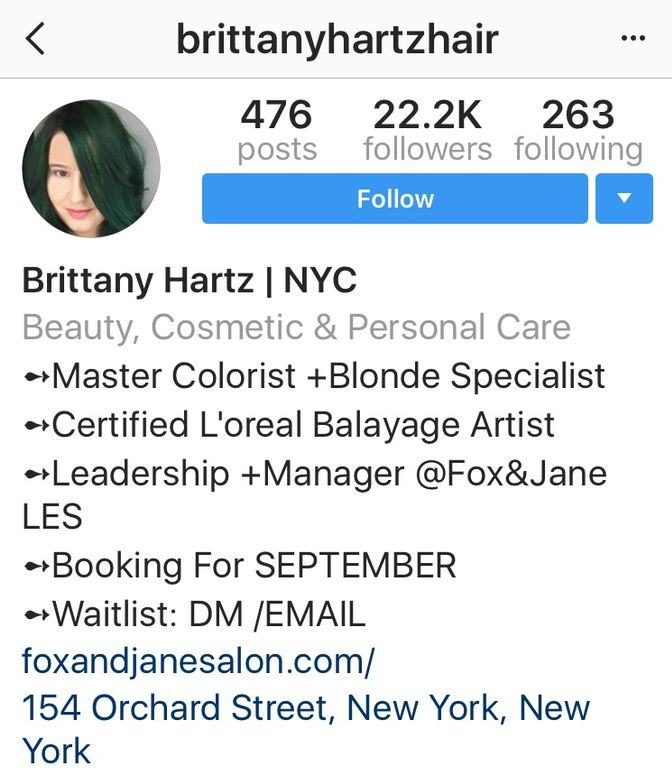 Check out this FANTASTIC bio by @brittanyhartzhair. In it you learn where she is located, what she does and how to connect.