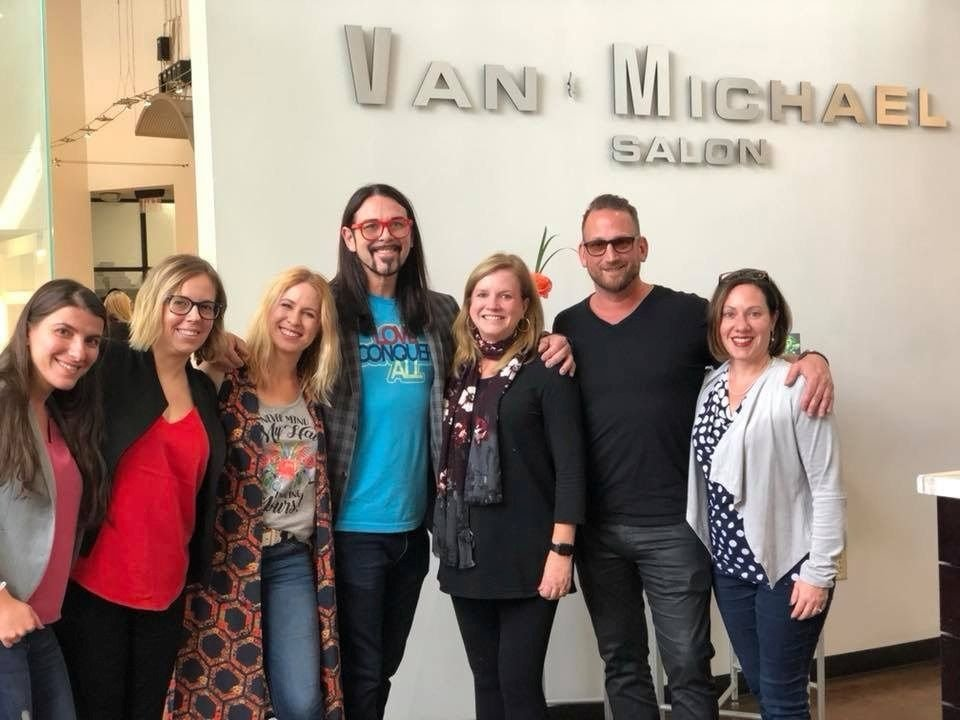 <p>Harry Wood IV (in shades) gives a group of us a personalized tour of the Van Michael flagship in Buckhead..</p>