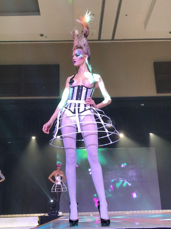 Alice-in-Wonderland-inspired look as part of Leah Freeman's segment of the B.I.G. Show.
