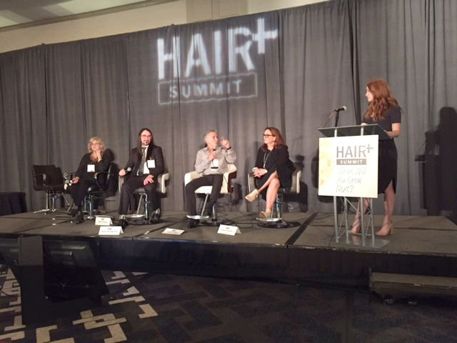 HAIR+ Summit salon professional panel from left: Sheila Wilson, Brent Hardgrave, Jeffrey Paul, Karen Gordon and MODERN SALON Senior Editor Lauren Quick moderating.