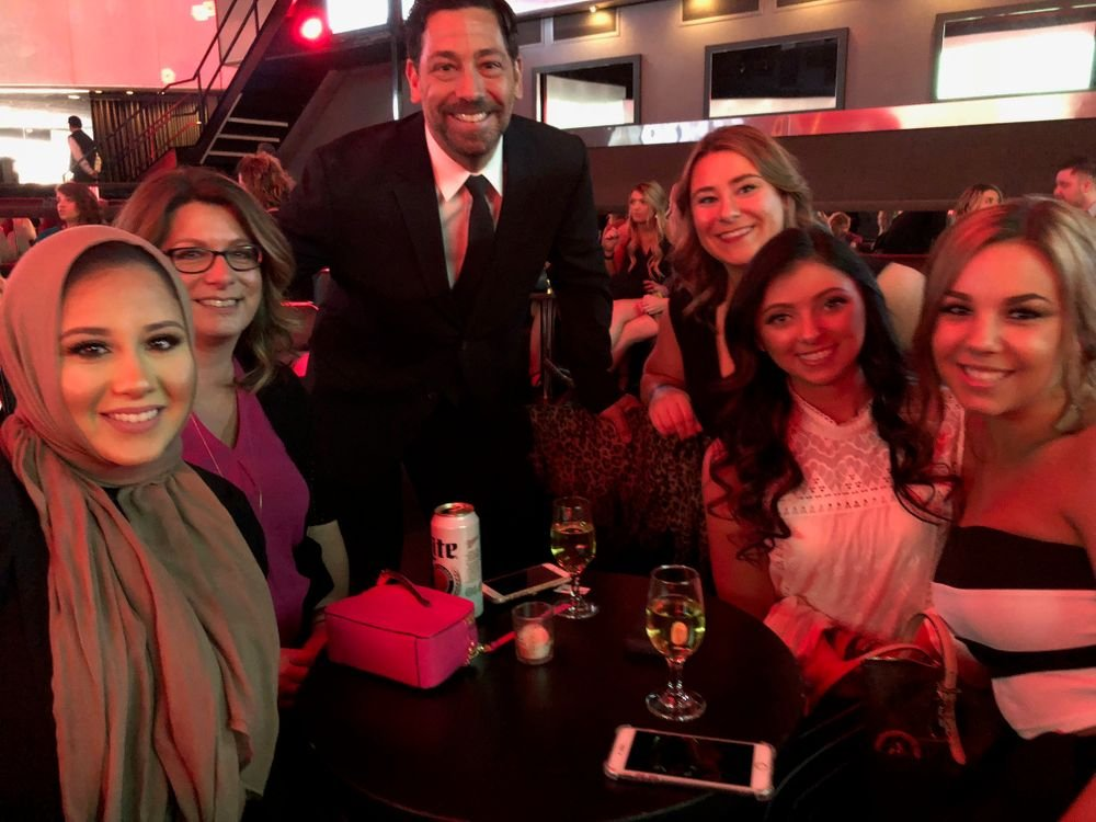 <p>Jeffrey LaMorte and hairdressers who came out to support BrainUp</p>