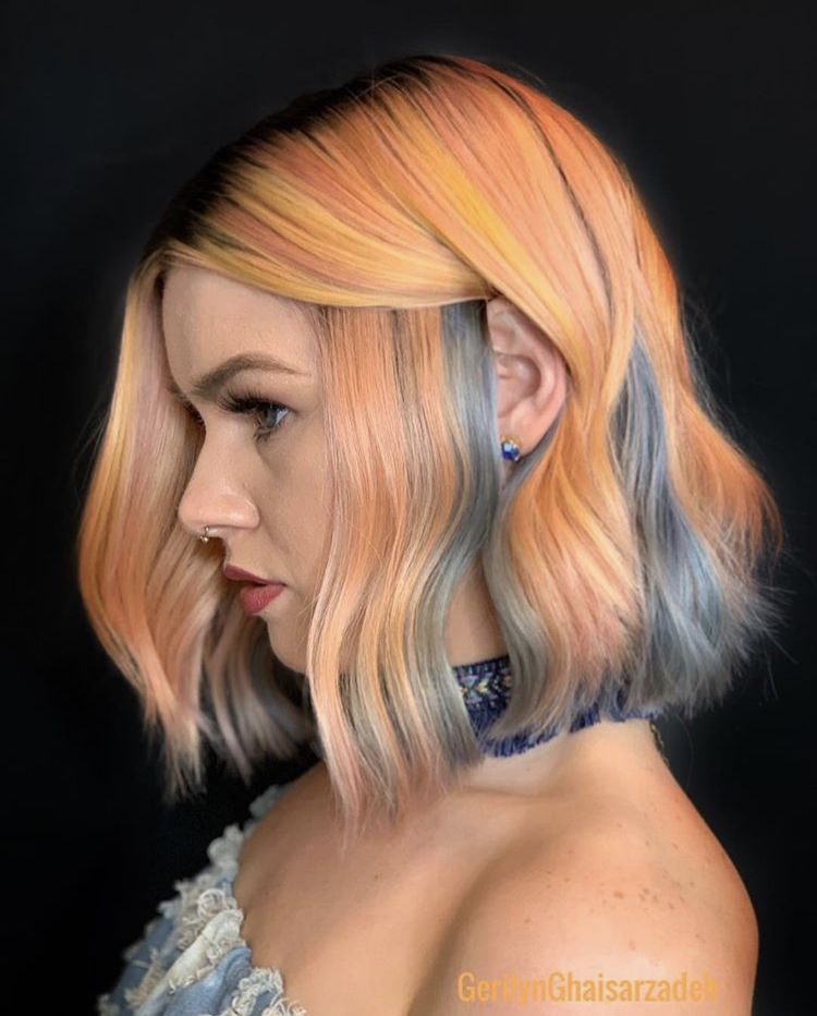 """""""Playing with Goldwell's Pure Pigments allowed me to create this gorgeous Chambray Peach beauty,"""" Ghaisarzadeh says. """"I choose to color boost Goldwell's Colorance shades for intensity to achieve a look with vibrant brilliance."""""""