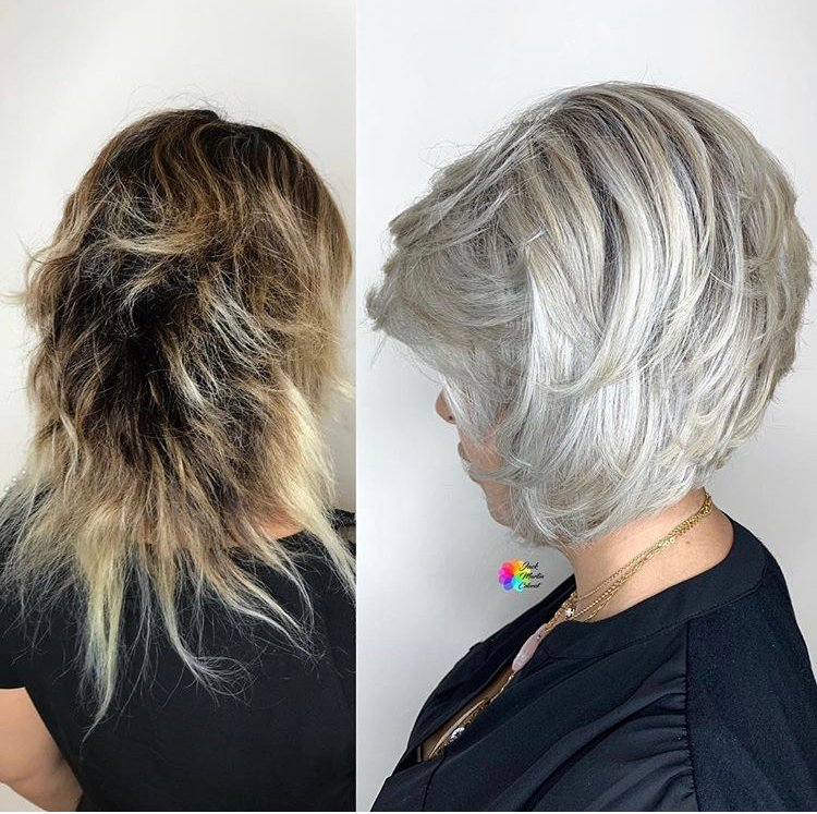 """Total time for this transformation: 6-7 hours. """"I lightened the whole head with <a class=""""notranslate"""" href=""""https://www.instagram.com/oligopro/"""">@oligopro</a> extra light with 20 volume and Olaplex, after one hour I applied the same formula on roots for another 45 minuets without heat at all until I reached level 11 pale blonde. Rinsed hair dried 70% then I applied <a class=""""notranslate"""" href=""""https://www.instagram.com/pravana/"""">@pravana</a> 6.22 beige blonde with 10 vol on roots to shadow it and applied 8.22 with 10 vol on random chunks in foils to give the color dimension and applied 10.7 platinum blonde with 10 vol on the rest of the hair for 45 min. Rinsed again, applied Olaplex Number 2 for 20 min, shampooed, conditioned."""""""
