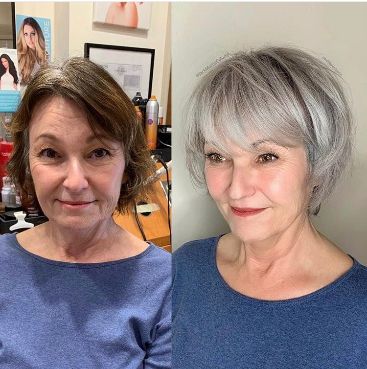 """""""This beautiful client came to me from 2 hours drive seeking gray silver color to blend and match her 100% gray roots so she can stop coloring her hair brown boxed color, total service was 7 hours."""" <a href=""""https://www.instagram.com/p/BsWRMYdguZb/"""" target=""""_blank"""" rel=""""noopener""""><strong>See the full formula on </strong></a><strong><a href=""""https://www.instagram.com/p/BuE6tlEg556/"""" target=""""_blank"""" rel=""""noopener"""">@jackmartincolorist</a></strong>"""