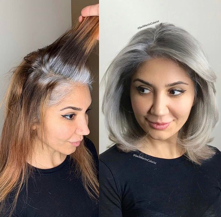 "<p>&quot;This beautiful client came to me from Atlanta with very damaged hair that had 7000 different brassy colors, she was seeking gray silver color to blend and match her 100% gray roots so she can stop coloring her hair brown boxed color.&quot; Total service time: 11 hours. See<a href=""https://www.instagram.com/p/BuE6tlEg556/"" rel=""noopener"" target=""_blank""><strong> the full transformation and formula on </strong></a><strong><a href=""https://www.instagram.com/p/BuE6tlEg556/"" rel=""noopener"" target=""_blank"">@jackmartincolorist</a>.</strong></p>"