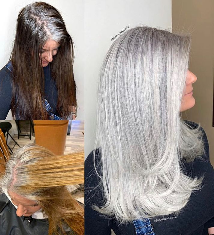 "<p>&quot;T<span title=""Edited"">his beautiful client came to me seeking gray silver color to blend and match her natural gray roots so she can stop coloring her hair dark boxed color. Total service was 12 hours. I started the long process by removing the artificial dye using <a class=""notranslate"" href=""https://www.instagram.com/malibucpro/"">@malibucpro</a> cpr for 45 minutes then <a class=""notranslate"" href=""https://www.instagram.com/pravana/"">@pravana</a> color extractor twice for 20 minutes each process.&quot; <a href=""https://www.instagram.com/p/BuZqB2JgvgW/"" rel=""noopener"" target=""_blank""><strong>Get the rest of the steps on </strong></a><strong><a href=""https://www.instagram.com/p/BuE6tlEg556/"" rel=""noopener"" target=""_blank"">@jackmartincolorist</a></strong></span></p>"