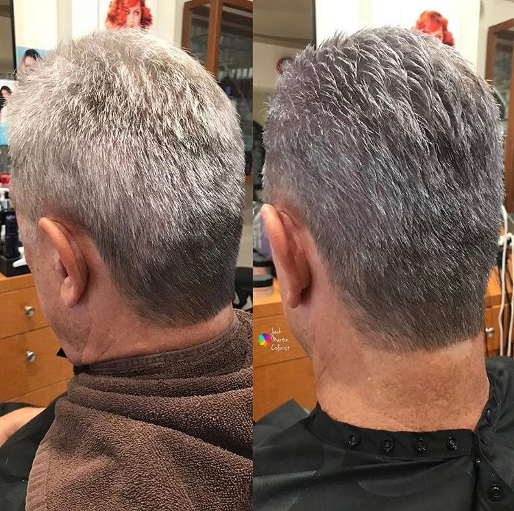 """""""Quick formula to help stylists adding color service to help men with flashy white hair to have more blended natural sliver hair. I used the amazing <a class=""""notranslate"""" href=""""https://www.instagram.com/kenraprofessional/"""">@kenraprofessional</a> silver metallic 8SM semi with 6 vol and <a class=""""notranslate"""" href=""""https://www.instagram.com/olaplex/"""">@olaplex</a> to ensure maximum deposit on dry hair for quick 20 min."""""""