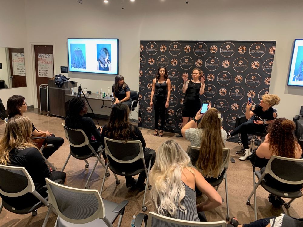 Each artist presented her makeover to the class. Here Maribel Gomez (@hairbymari_gomez) shares details about the new look on her model.