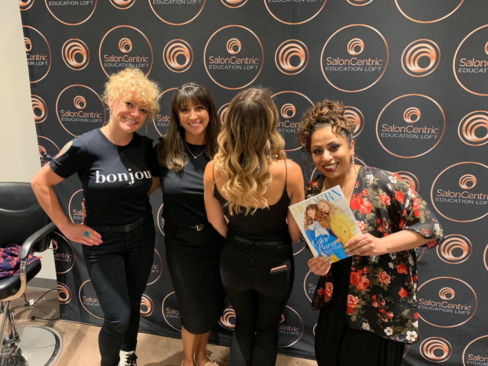 Winner of the balayage makeover competition, Payal Patel, with from left: Sophia Avera, <strong>Tanya Acevedo</strong> and model.