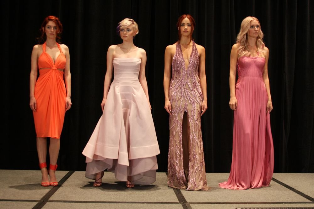 Models on stage during Nick Stenson's color trend segment.