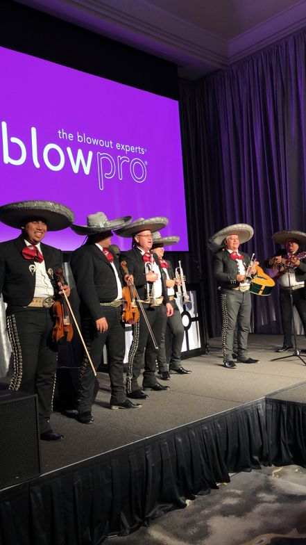 A mariachi band, a gift of Univision to Basim Shami, entertained.