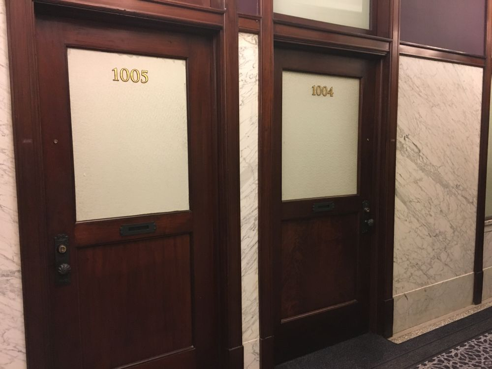Located in the historic Burnham building in Chicago, some of the Staypineapple's rooms have the original office doors.