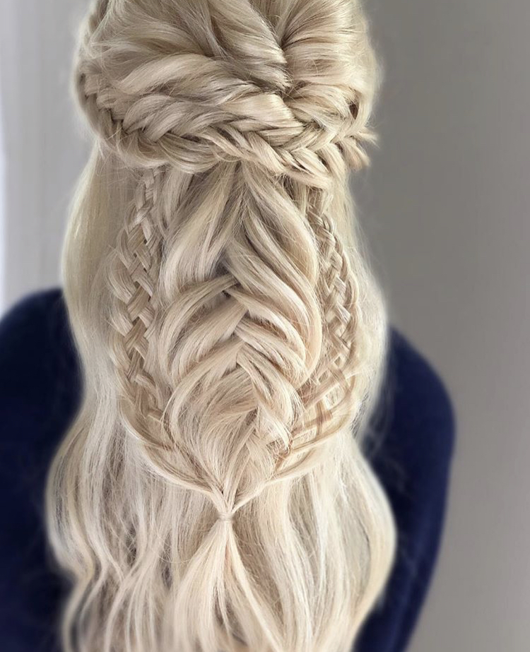 Braided mix half-down style.