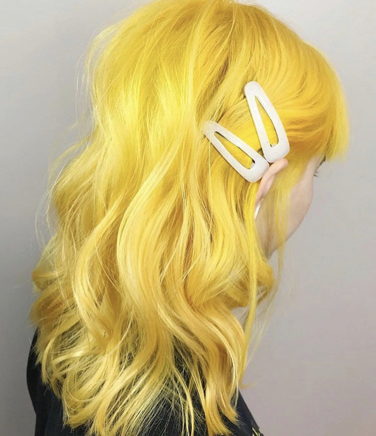 Viral Yellow hair created by @victoriagraceglam. Home maintenance: Use Colorwash ever other shampoo for fade-free and vibrant color.