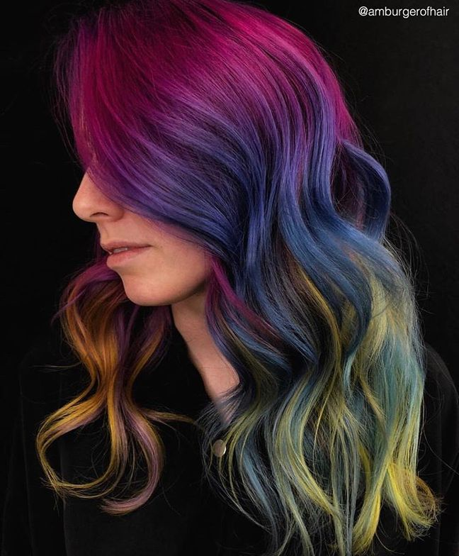 Multi-hued finish by San Diego colorist @amburgerofhair using Viral Colorditioner and Bondfix in Purple, Magenta, Lilac, Turquoise and Ciral Colorwash Extreme Yellow.