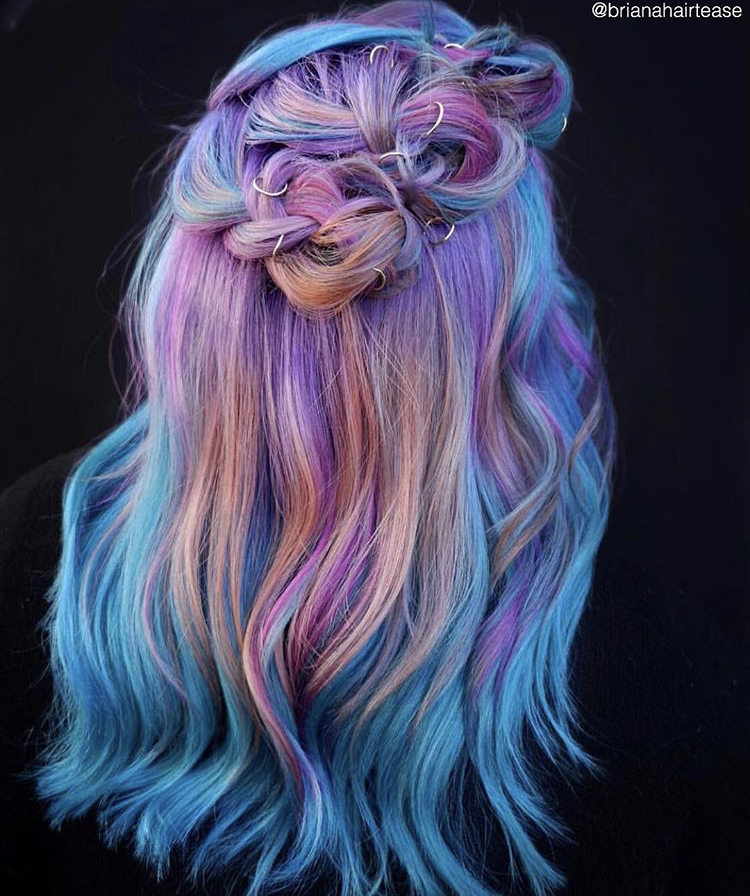 Boston colorist @brianahairtease used all Viral Colorditioner in Magenta, Turquoise, Coral and a custom mix of Silver and Purple applied on clean, dry hair for maximum vibrancy.