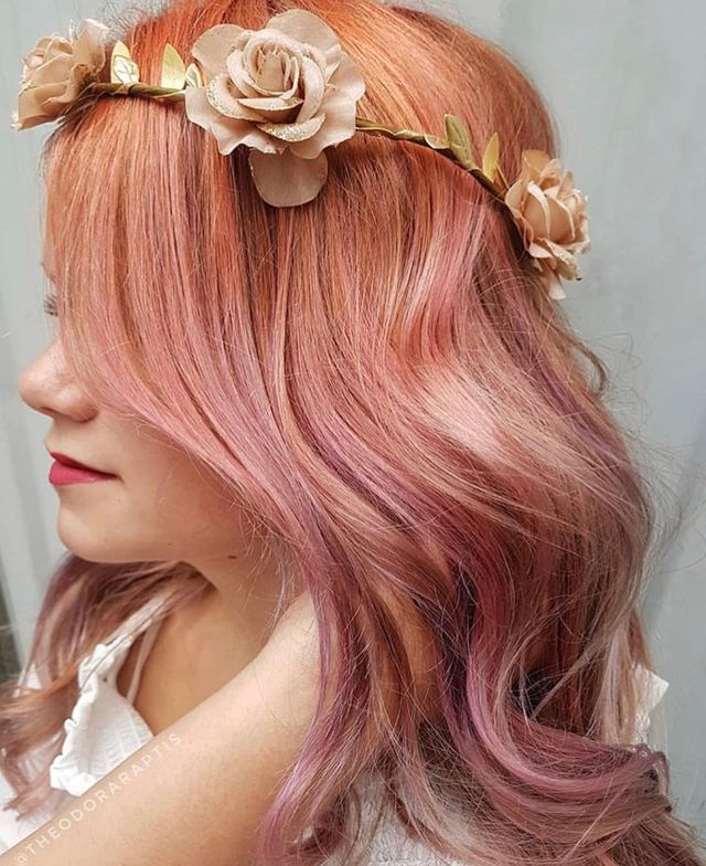 Vintage Rose by Canadian colorist @theodoraraptis using Celeb Luxury's Viral Colorditioner in Rose Gold, Coral and Lilac on pre-lightened hair.