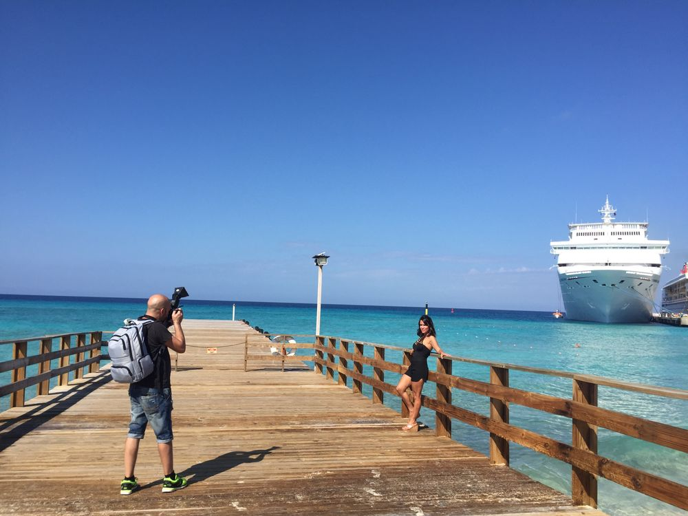 Behind the scenes of GKhair's beachfront photoshoot on Grand Turk.