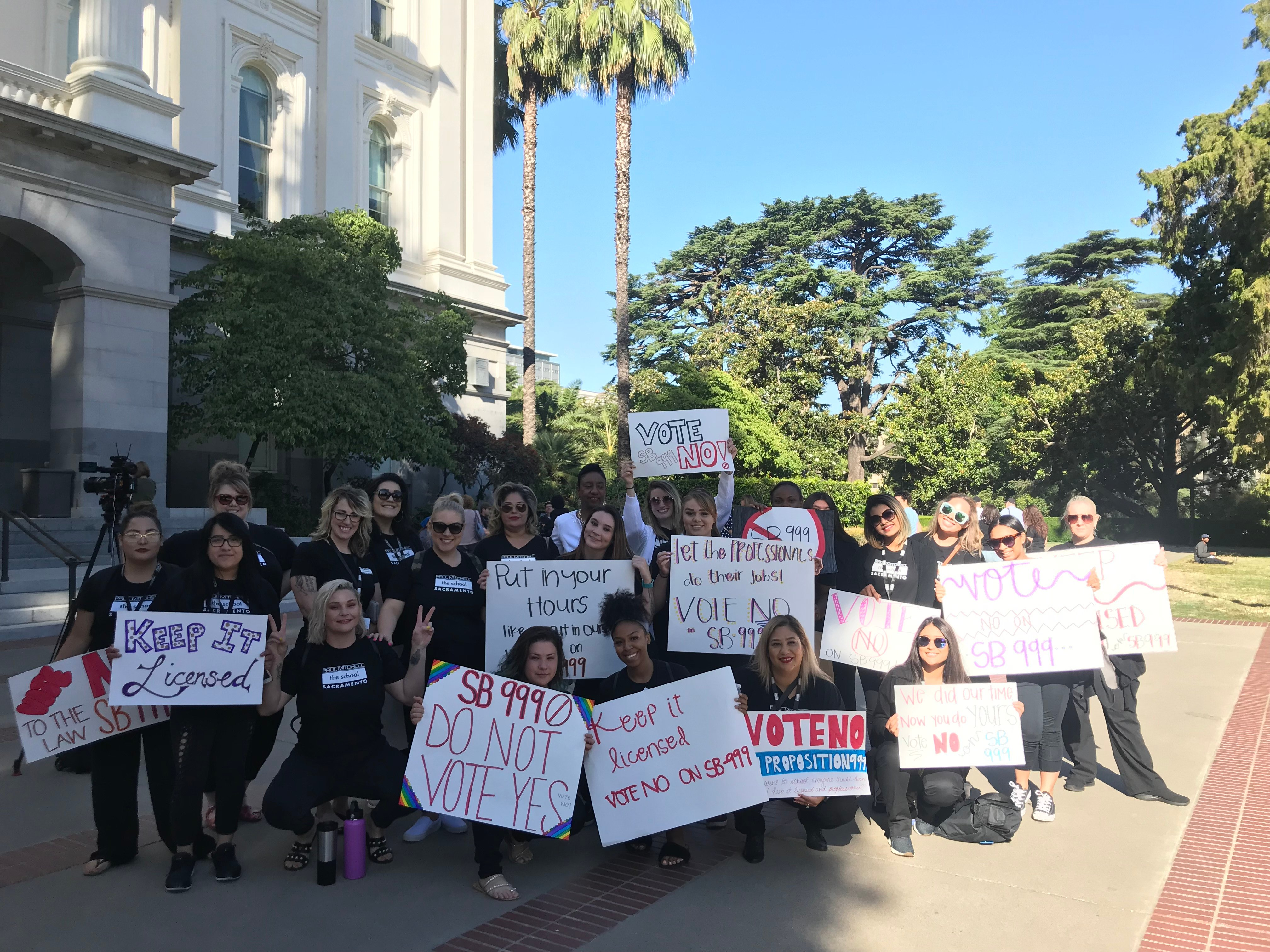 Protesting against the bill today, stylists and salon owners led the charge in Sacramento at a hearing opposing Senate Bill 999.