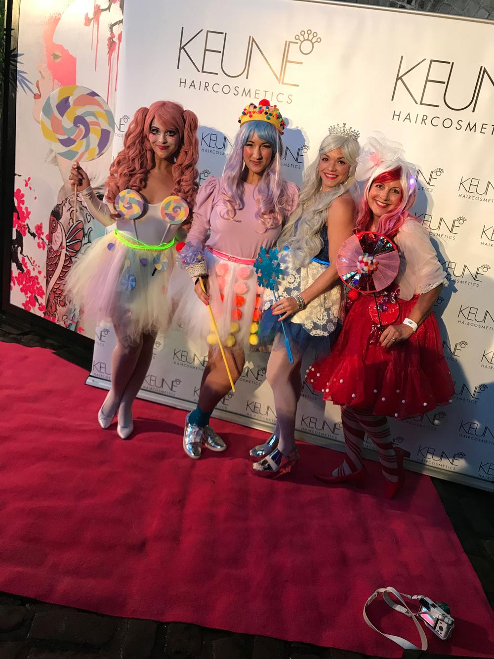 Keune's Foundation Ball 2017, hosted by Keune Austalia, presented a Harajuku-themed Tokyo Neon Disco. Pictured: Keune North America's Gabriella Arenas, Rachael Hoffman, Rachel Litsky, Rita Rubenstein.