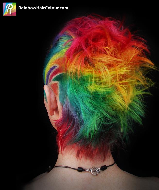 Back of rainbow Mohawk, styled back.