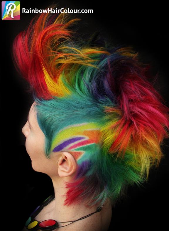 Side of rainbow Mohawk.