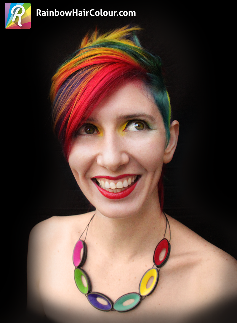 Front of rainbow Mohawk, styled down.