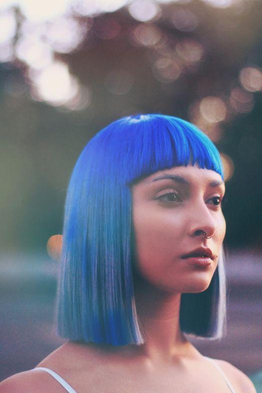 BLUE ELEMENT: Haircolor, Haircut and Style: Michelle-Nichole Jones owner of Bounc'n & Behaving Hair Studio; Makeup: Lovisa Woodson; Fashion Styling: Stylist Saniyyah Bilal
