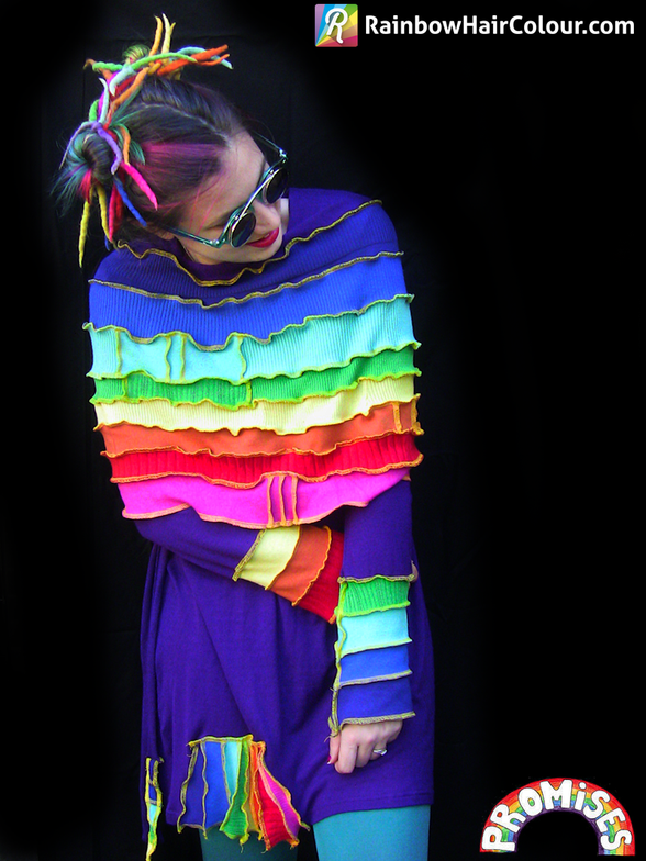 This rainbow jumperling created by Jo Dunham was the inspiration for the rainbow Mohawk!